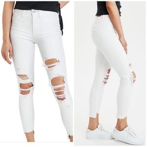 American Eagle Super High Rise White Jeans 16 Jeg